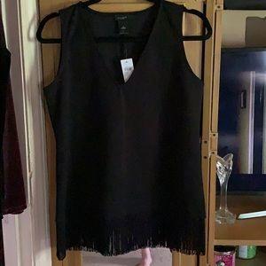 Black sleeveless top with black fringed bottom